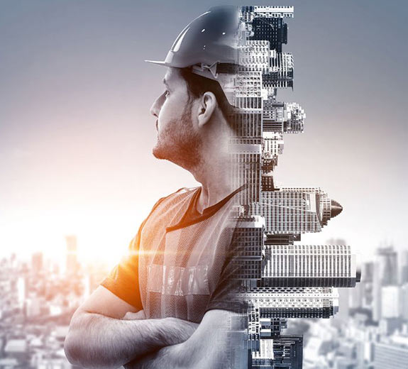 Tradesmen with city landscape | Featured image for Courses in Building and Construction.