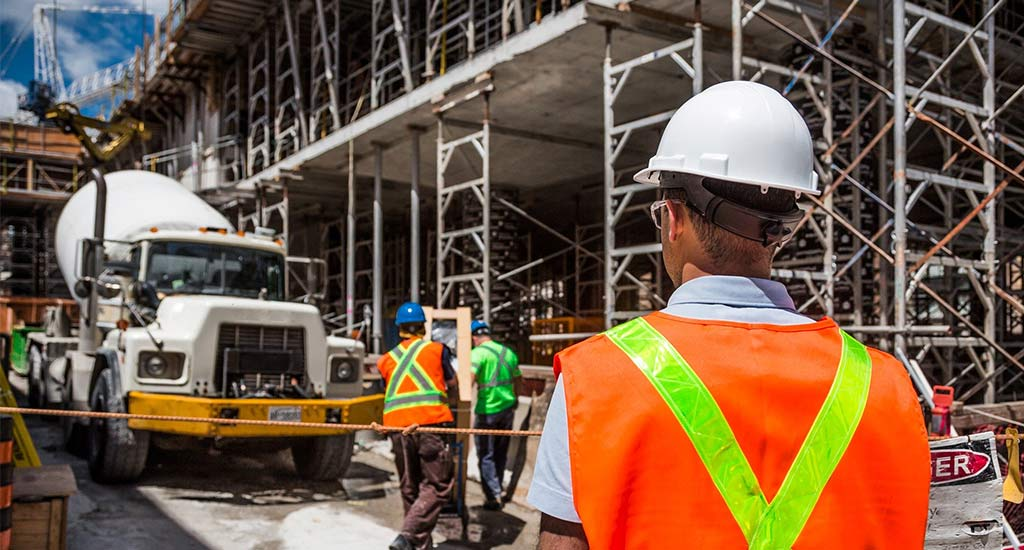 Construction building supervisor on site